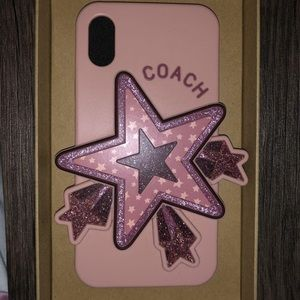 Pink Coach phone case with overlapping star.